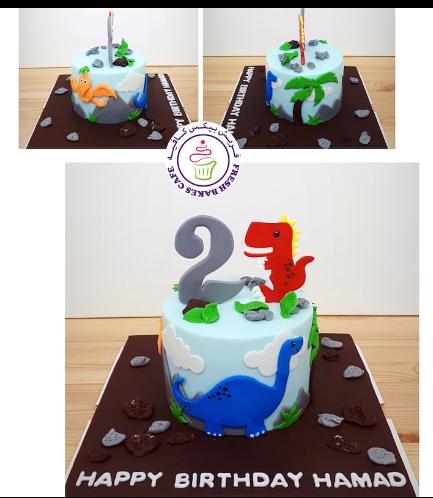 Dinosaur Themed Cake - 2D Cake Toppers - 1 Tier 04