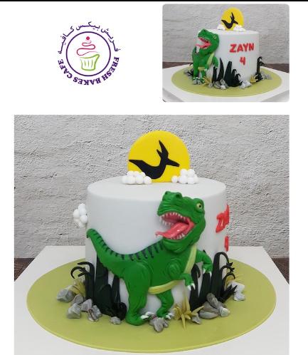 Dinosaur Themed Cake - 2D Cake Toppers - 1 Tier 05