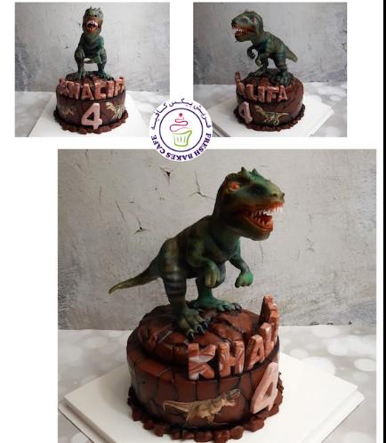 Dinosaur Themed Cake - 3D Cake Topper - 1 Tier 01