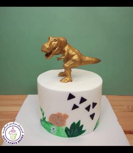 Dinosaur Themed Cake - 3D Cake Topper - Gold