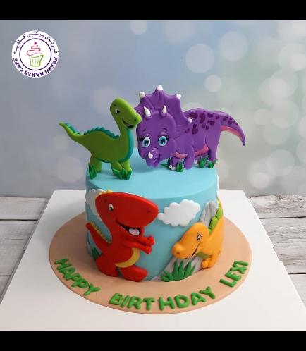 Dinosaur Themed Cake - Cute Dinosaur - 2D Cake Toppers - 1 Tier 02
