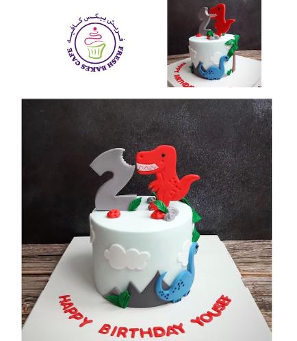 Dinosaur Themed Cake - Cute Dinosaur - 2D Cake Toppers - 1 Tier 04
