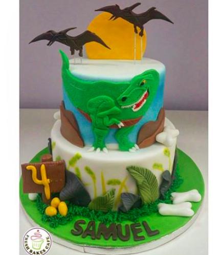 Dinosaur Themed Cake - 2D Cake Toppers - 2 Tier 01