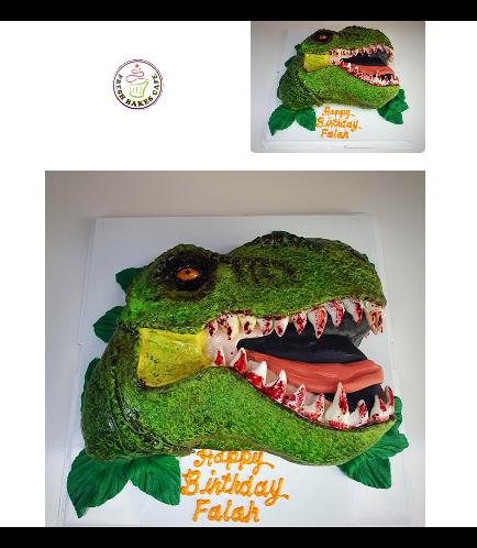 Dinosaur Themed Cake - 2D Dinosaur Head Cake