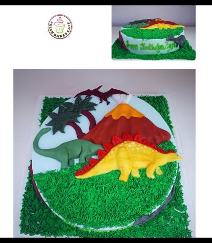 Dinosaur Themed Cake - 2D Dinosaur Cake Toppers 01 - Round Cake