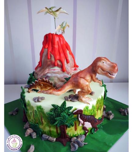 Dinosaur Themed Cake - 3D Dinosaur & Volcano Cake Toppers - 1 Tier 01a