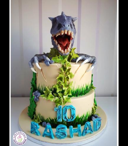 Dinosaur Themed Cake - 3D Dinosaur Head & Arms Cake Toppers 01a