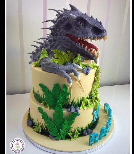 Dinosaur Themed Cake - 3D Dinosaur Head & Arms Cake Toppers 01b