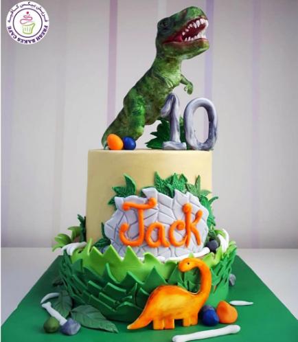 Dinosaur Themed Cake - 3D Cake Topper - 2 Tier 01a