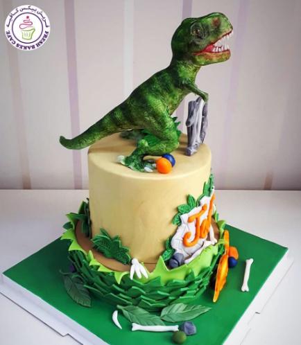 Dinosaur Themed Cake - 3D Cake Topper - 2 Tier 01b