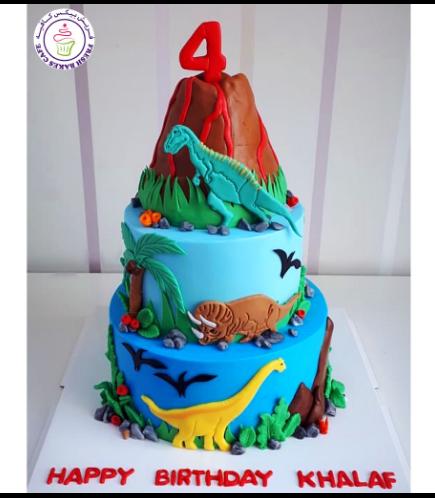 Dinosaur Themed Cake - 2D Cake Toppers & 3D Volcano - 2 Tier 01