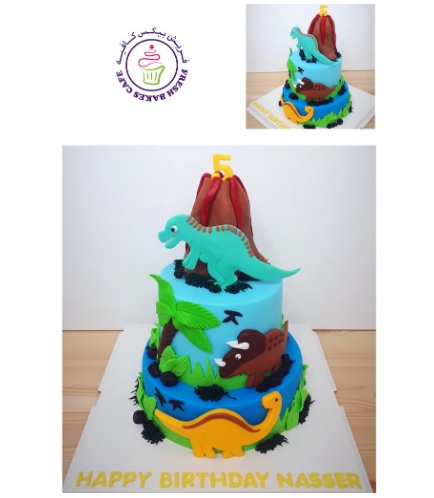 Dinosaur Themed Cake - 2D Cake Toppers & 3D Volcano - 2 Tier 02