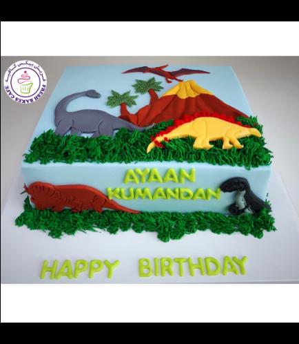 Dinosaur Themed Cake - 2D Cake Toppers - 1 Tier 01 - Rectangular Cake