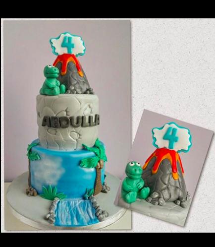 Dinosaur Themed Cake - 3D Dinosaur & Volcano Cake Toppers - 2 Tier