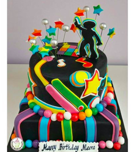 Disco Themed Cake - 2D Cake Topper - 2 Tier