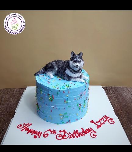 Dog Themed Cake - 3D Cake Topper - Husky