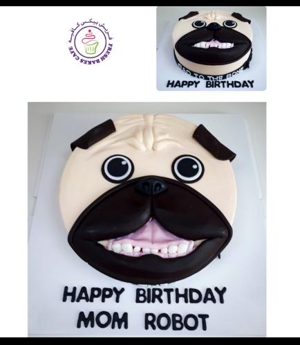 Dog Themed Cake - Face - Top - 2D Cake - Fondant 02