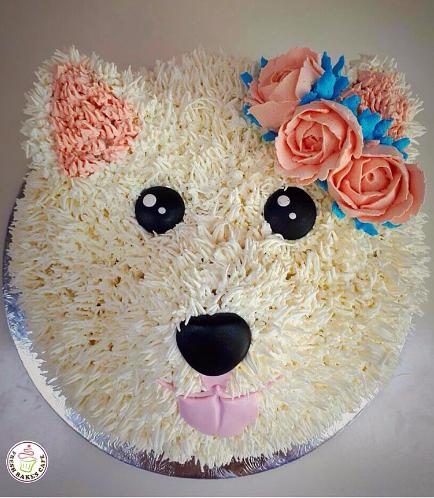 Dog Themed Cake - Face - Top - 2D Cake - Cream
