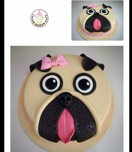 Dog Themed Cake - Face - Top - 2D Cake - Fondant 01
