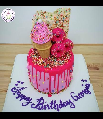 Donuts, Ice Cream, & Chocolate Themed Cake