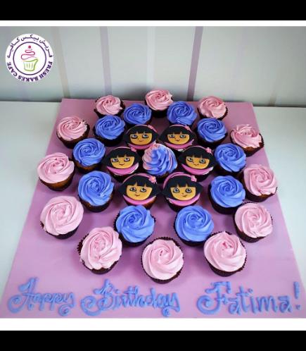 Dora the Explorer Themed Cupcakes - 2D Fondant Picture