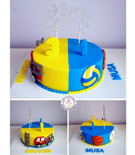 Cake - Fire Engine & Sports Balls