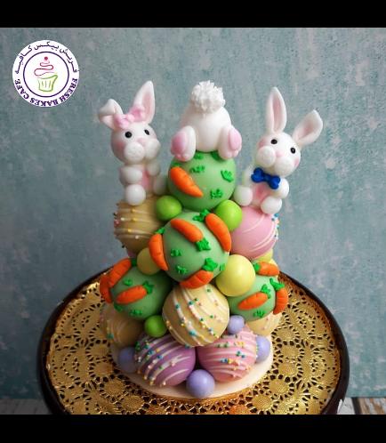 Easter Themed Cake Pops Tower - Rabbits & Carrots