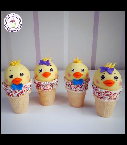 Chicks Themed Cone Cake Pops