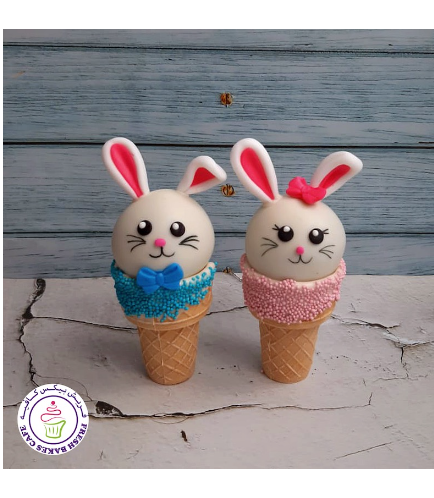 Easter Themed Cone Cake Pops - Rabbits - Girl & Boy