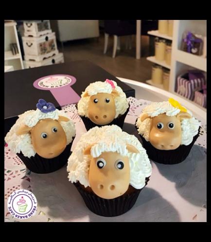 Eid Al Adha Themed Cupcakes - Sheep - 3D Toppers - Cream & Fondant