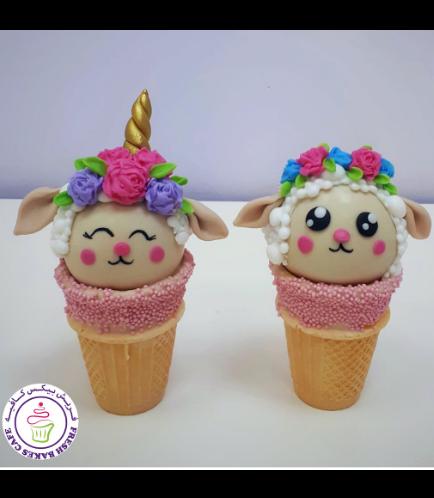 Sheep Themed Cone Cake Pops - Sheep & Sheep Unicorn