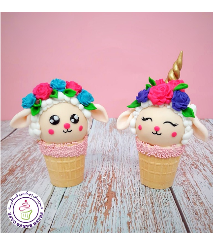 Eid Al Adha Themed Cone Cake Pops - Sheep & Sheep Unicorn