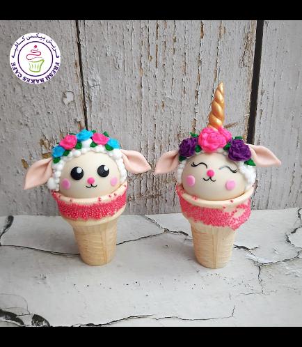 Cone Cake Pops - Sheep & Sheep Unicorn