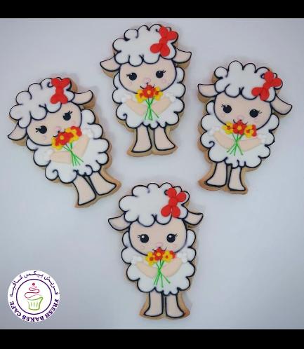 Sheep Themed Cookies - Sheep & Flowers 01