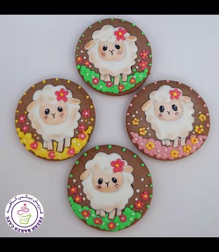 Sheep Themed Cookies - Sheep & Flowers 02