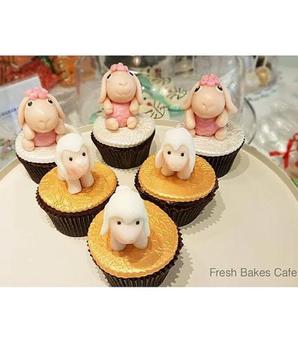 Eid Al Adha Themed Cupcakes - Sheep - 3D Toppers - Fondant 01