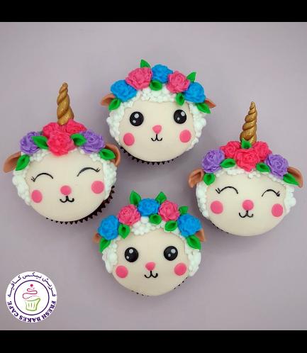 Eid Al Adha Themed Cupcakes - Sheep Face - 2D Toppers - Unicorn Sheep & Sheep