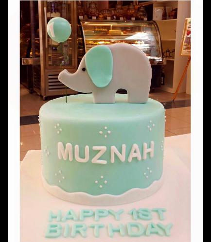 Elephant Themed Cake - 2D Cake Topper - Blue 02