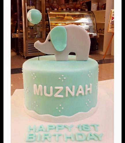 Cake - Elephant - 2D Cake Topper - Blue 02