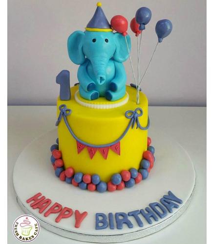 Elephant Themed Cake - 3D Cake Topper 01 - Blue