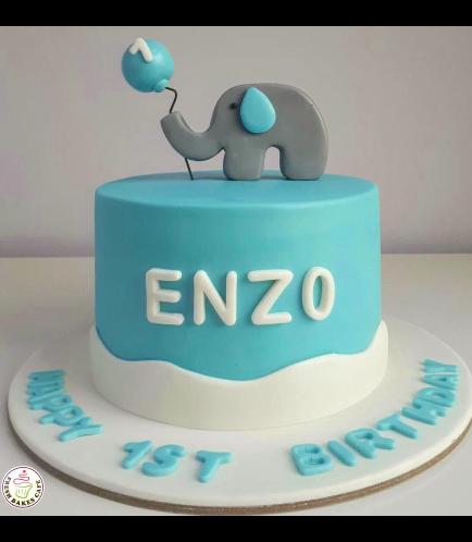 Elephant Themed Cake - 2D Cake Topper - Blue 03
