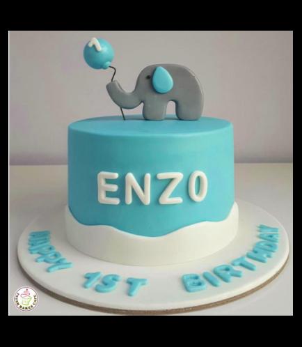 Cake - Elephant - 2D Cake Topper - Blue 03