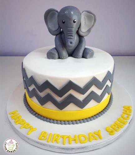 Elephant Themed Cake - 3D Cake Topper 04