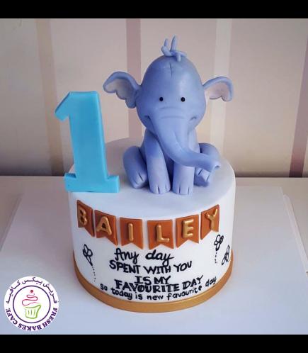 Elephant Themed Cake - 3D Cake Topper 07