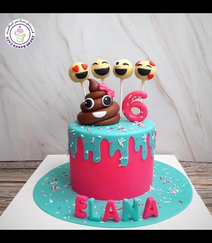 Emoji Themed Cake - 3D Cake Topper & Cake Pops