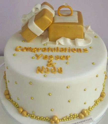 Engagement Themed Cake - 3D Engagement Ring Box Cake Topper 02