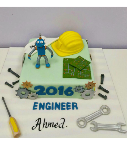 Engineer Themed Cake - Mechanical - 3D Cake Toppers
