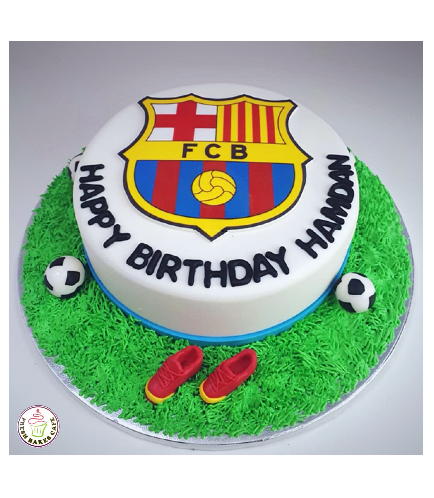 Football Themed Cake - FC Barcelona - Logo - Printed Picture & 3D Cake Toppers
