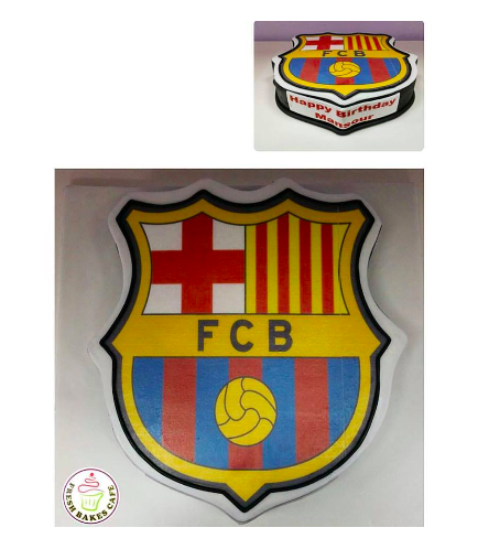 Football Themed Cake - FC Barcelona - Logo - Printed Picture - 3D Cake