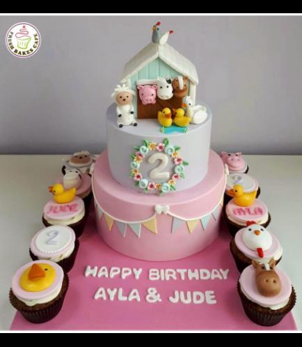 Farm Animals Themed Cake & Cupcakes